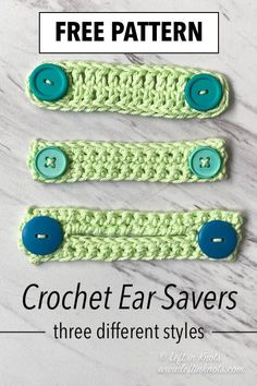 "If you run out of elastic while sewing face masks; use the tutorial below to DIY some crochet ""elastic"". Then make some ear savers in one of three different styles using these free crochet patterns. gifts DIY Mask Elastic and Crochet Ear Saver Pattern Crochet Mask, Crochet Faces, Crochet Diy, Crochet Crafts, Crochet Projects, Sewing Projects, Easy Yarn Crafts, Crochet Cup Cozy, Easy Knitting Projects"