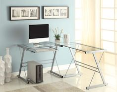 Naomi Home 3 Piece Sedalia Glass Office Desk, Silver. Product dimensions 51inch width x 20inch depth x 29inch height. Cpu computer tower stand. Steel frame is very durable.