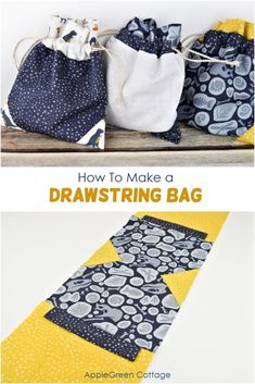 See how to make a drawstring bag with tiny little accents. A cool storage pouch for anything - way easier than you think! Small Sewing Projects, Sewing Hacks, Sewing Tutorials, Sewing Crafts, Fabric Crafts, Sewing Ideas, Diy Projects, Knitting Projects, Bag Sewing Pattern