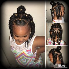Not sure what to call this, but I just wanted to try something different to my daughter's hair and I can't cornrow so 2 strand twist it is til I get someone to braid her hair. Princess Zurayè Reginae everyone. Lil Girl Hairstyles, Natural Hairstyles For Kids, Kids Braided Hairstyles, Princess Hairstyles, Toddler Hairstyles, Holiday Hairstyles, Ponytail Hairstyles, Kids Hairstyle, Prom Hairstyles