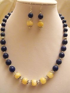 Navy blue & yellow earrings & necklace w/ Egyptian Lapis by NoresanDesigns