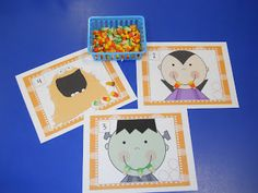 Learning and Teaching With Preschoolers counting teeth to 20 with candy corn convert to addition & subtraction mats Theme Halloween, Halloween Activities, Autumn Activities, Preschool Activities, Preschool Halloween, Early Math, Kindergarten Classroom, Holiday Fun, Candy Corn