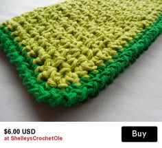 Dish - Wash Cloths  - Lime Green and Green - Crochet