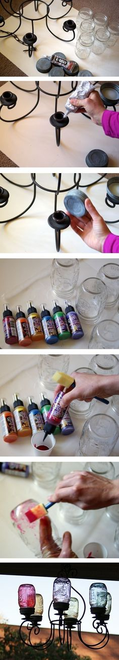 DIY Mason Jar Chandeleir diy crafts craft ideas easy crafts diy ideas diy idea diy home easy diy for the home crafty decor home ideas diy decorations diy chandelier Mason Jar Projects, Mason Jar Crafts, Mason Jar Diy, Tinted Mason Jars, Diy Jars, Bottle Crafts, Mason Jar Chandelier, Diy Chandelier, Chandelier Makeover