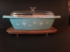 Vintage RARE Starburst Turquoise Pyrex 2 5 Qt Oblong Covered Casserole No 35 | eBay