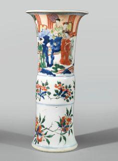 A wucai 'figural' beaker vase, 17th century