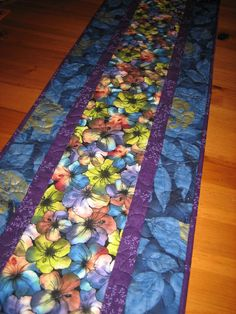 Quilted Table Runner Hibiscus Flowers with Purple by TahoeQuilts
