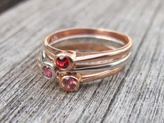 Pink Sapphire Rings Peach Sapphire Rings Cherry Red by Belesas, $188.99
