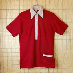 【ビンテージ】古着USA(アメリカ)製半袖レッド(赤)BLASER-FARMSボーリングシャツ【Hilton(ヒルトン)】