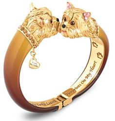 Sophistipups Yorkie Swarovski Crystal Bangle Bracelet. Yorkshire Terrier Jewelry.