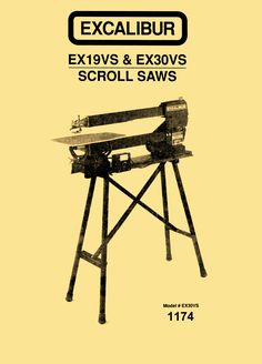 """Excalibur EX19VS & EX30VS 19"""" & 30"""" Variable Speed Scroll Saws Instructions & Parts Manual - http://ozarktoolmanuals.com/machinemanual/excalibur-ex19vs-ex30vs-19-30-variable-speed-scroll-saws-instructions-parts-manual/ #DeltaMilwaukeeRockwell"""