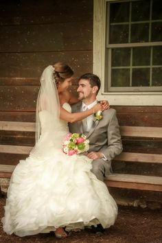 Pairing this Allure Bridal gown with a classic grey tuxedo was a no brainer!