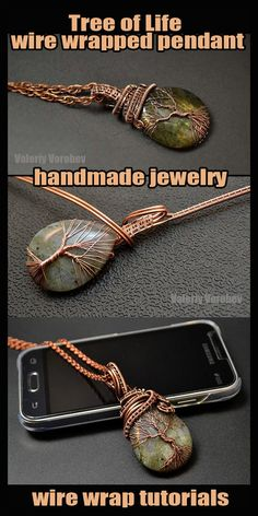 """The tree of life made of wire and stone. Step by step master classes – pendant """"Tree of Life"""" with your own hands. Wire Pendant, Wire Wrapped Pendant, Wire Wrapped Jewelry, Diy Jewelry Projects, Jewelry Making Tutorials, Stone Wrapping, Wire Wrapping, Handmade Wire Jewelry, Wire Jewellery"""