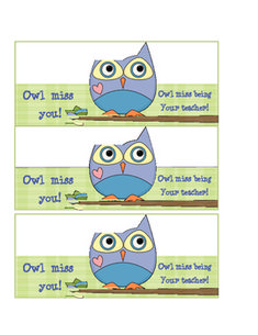 'Owl Miss You' &  'Owl Miss Being Your Teacher' Gift Tag for Students Leaving.  Perfect for a teacher I know! ;)