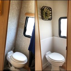 Before & after of our RV bathroom remodel Top wall color: Sherwin Williams Worldly Gray Bottom wall: Wainscoting