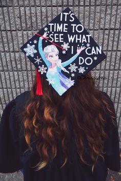 """Frozen inspired college graduation cap. """"It's time to see what I can do"""" Elsa & Snowflakes. Made by Chrissy Pauley for a Marshall University graduation."""