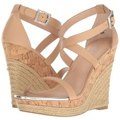 Charles by Charles David Aden (Nude Leather) Women's Shoes (310 BRL) ❤ liked on Polyvore featuring shoes, sandals, leather platform sandals, ankle strap wedge sandals, ankle strap sandals, platform sandals and nude wedge shoes