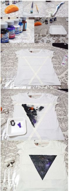 High quality unique galaxy shirt with amazing design Ideas that you will love. Estilo Fashion, Diy Fashion, Gothic Fashion, Diy Galaxie, Diy Vetement, Idee Diy, Clothing Hacks, T Shirt Diy, Tye Dye