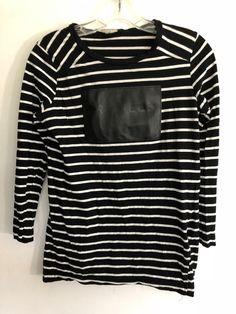 554b08b3007db5 Zara women Precieux Striped Sleeve Shirt Black & white Top Size S cotton 39