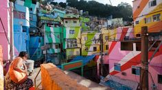Dutch artists Haas converted the homes of Favela Santa Maria in Rio de Janeiro into art.