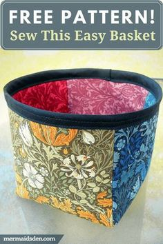 Catcher Basket Free Pattern Thread Catcher Basket Free Pattern and Tutorial. Organize your sewing room or craft room.Thread Catcher Basket Free Pattern and Tutorial. Organize your sewing room or craft room. Sewing Hacks, Sewing Tutorials, Sewing Crafts, Sewing Tips, Sewing Ideas, Bag Tutorials, Leftover Fabric, Creation Couture, Love Sewing