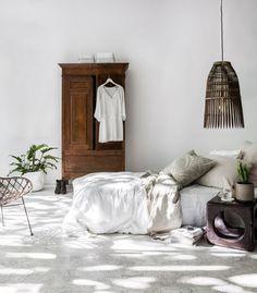 chambre naturelle, chambre bohème, chambre tons neutres, chambre apaisante, Lovely market                                                                                                                                                                                 Plus