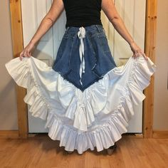 Long Ruffle Skirt, Off White Bustle Skirt, High Low Skirt Steampunk, Prairie Country Clothes, Refashioned Upcycled Denim, Women's Size M-L