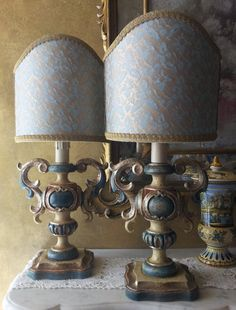 Pair of Italian Vintage Antique Finish Silver Gilt and Polychromed Carved Wood Table Lamps with Fortuny Fabric Lamp Shades
