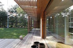 Bergman–Werntoft House | Johan Sundberg Architectural Design Indoor Outdoor, Laminated Veneer Lumber, Atrium House, Unique House Design, Storey Homes, Forest House, Wooden House, Sliding Glass Door, House In The Woods