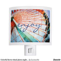 "Colorful ferris wheel photo night light ""enjoy"""