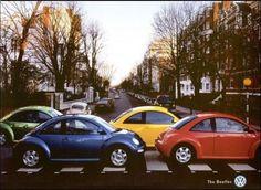 The Beetles crossing Abbey Road