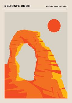 The Delicate Arch Poster Travel Prints US Travel Fine Art Graphic Design Posters, Graphic Design Illustration, Digital Illustration, U2 Poster, Delicate Arch, Plakat Design, National Park Posters, Vintage Poster, Contemporary Abstract Art