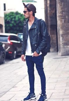 A black leather jacket is a timeless addition to any man's wardrobe. Pick a jacket with a great fit like the looks we've curated for a versatile style. Casablanca, Men's Leather Jacket, Leather Men, Black Leather, Leather Jackets, Jacket Jeans, Biker Leather, How To Wear Sneakers, Riders Jacket