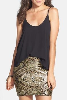 Dress it up or dress it down - Gold Sequin Miniskirt