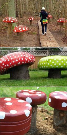 Wooden Log Forest Toadstools.
