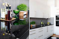 Kaunis keittiö ja hieno taustaseinä kaappien välissä Black Kitchens, Kitchen Black, Kitchen Dining, Kitchen Cabinets, Interior Design, Kitchen Inspiration, Tabletop, Home Decor, Style