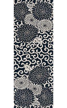 Arabesque Chrysanthemum - Tenugui (Japanese Multipurpose Hand Towel)