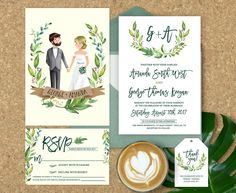 Wedding Invitation Illustrated, Illustrated Couple Wedding Invitation, Wedding Invitation Set, Couple Portrait, Elegant Wedding Invitations by ohlillydesigns on Etsy https://www.etsy.com/ca/listing/464945558/wedding-invitation-illustrated