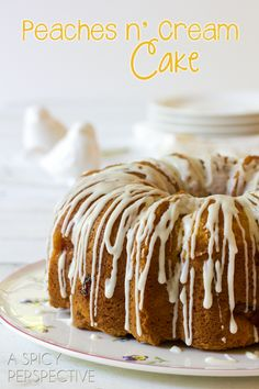 Peaches n Cream Cake | Slice into summer with this heavenly Peach Cake, dappled with fresh ripe peaches and drizzled with sweet cream glaze! | From: aspicyperspective.com