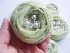 Mint Green Roses Handmade Appliques Embellishment 5 pcs. #appliques #roses