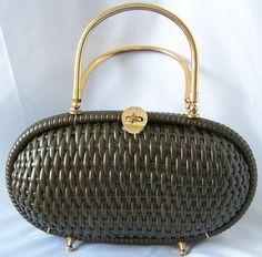 Vintage Black Basket Weave Purse, Made In Italy For Bloomingdale's