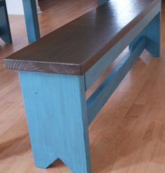 Primitive bench in blue glaze.  Rustic Handmade Bench,  Shabby Chic Finish