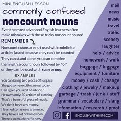 Commonly Confused Noncount Nouns