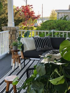Our new porch with outdoor rugs from Garent Hill Outdoor Rugs, Outdoor Spaces, Outdoor Living, Outdoor Decor, Cottage Porch, Outside Living, Diy Patio, Beach Cottages, Porch Decorating