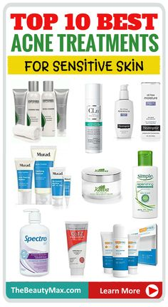 Top 8 Acne Treatment + 7 Skincare Products to Treat Sensitive Skin- Natural & Home Remedies - In this guide, We have rounded up some of the best skin care and acne treatment products for sensit - Back Acne Treatment, Natural Acne Treatment, Natural Skin Care, Acne Skin, Acne Scars, Oily Skin, Sensitive Acne Prone Skin, Home Remedies For Acne, Natural Remedies