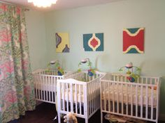 Also good crib arrangement for a small room - but these are tiny cribs unlike ours which are huge