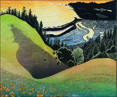Tom Killion    Bolinas Ridge Sunset 2009    Woodcut print