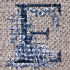Beautifully handcrafted and hand-woven French toile adds a touch of class to any desk. Embroidery Alphabet, Cross Stitch Alphabet, Cross Stitch Samplers, Cross Stitch Charts, Cross Stitch Designs, Cross Stitching, Cross Stitch Embroidery, Cross Stitch Patterns, Le Point