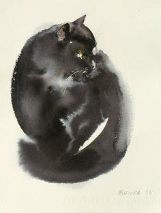 cat 3, watercolor or ink, endre penovac