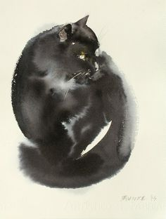 Cat 3, watercolor or ink, Endre Penovac